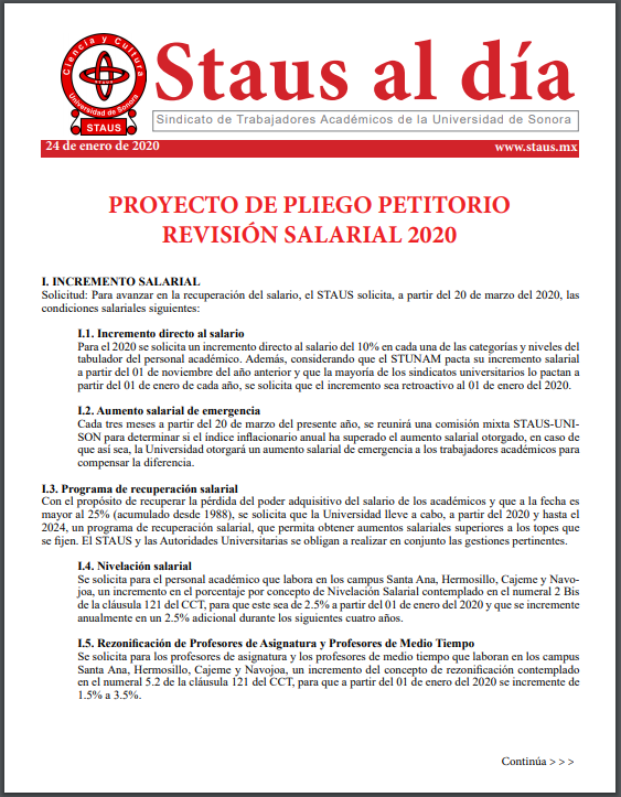 24 01 2020 Pliego Petitorio STAUS Revisión Salarial 2020